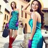 蓝绿色短礼服