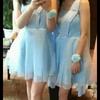 转伴娘服一件,单肩蓝色